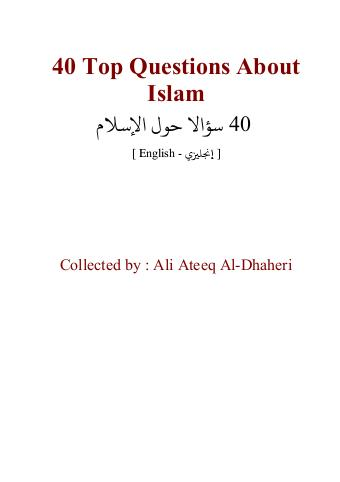 Download 40 top questions about islam pdf book by author ali atique al zahri