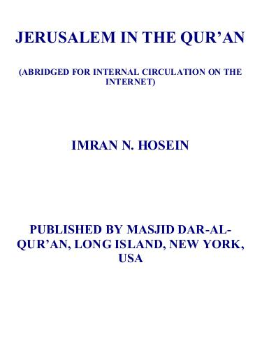 Jerusalem in the quran download pdf book writer imran n husain